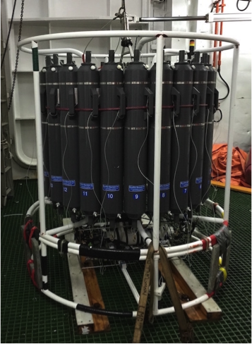 The CTD rosette measures conductivity (salinity), temperature, and pressure (depth). The niskin bottles surround the rosette and are fired at specific depths to capture water.